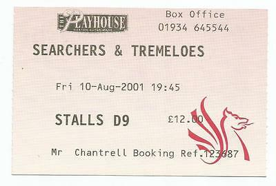 The Searchers Tremeloes Playhouse Weston Super Mare 2001 Ticket Stub
