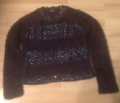 Girl's Angora Jumper - Sequin Trim - Age 11/12 Yrs.vg.