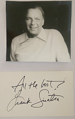 Frank Sinatra Signed Card and Photograph Autograph Signature