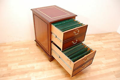 Antique Style Yew Filling Cabinet New Burgundy Leather inlay