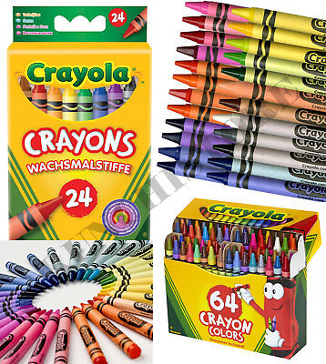 Crayola Crayons Assorted Colours Wax Crayon Art Drawing 24/64/24 Jumbo