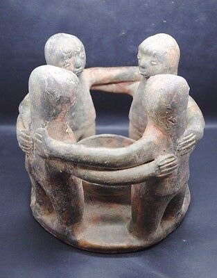 Impressive Ancient? Heavy Terracotta Offering Bowl With 4 Antromorphic Figures