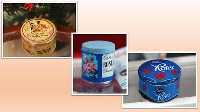 1:12 scale dolls house miniature tins of sweets 3 to choose from.