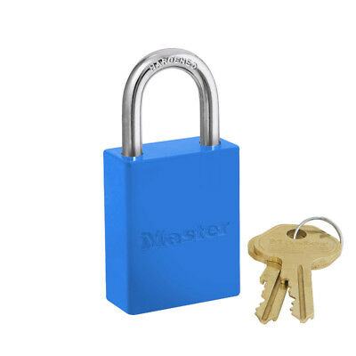 Aluminum Safety Padlock, 1-1/2in Wide, 1in Tall Shackle, Keyed Alike, Blue