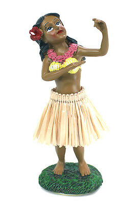 "4"" Leilani Hawaiian Dashboard Hula Girl - Hula Doll - Dancing - Natural Skirt"