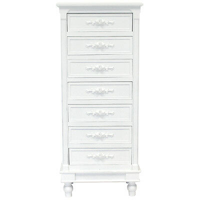 Charles Bentley White Floral Belgravia Distressed Tallboy Chest Of 7 Drawers