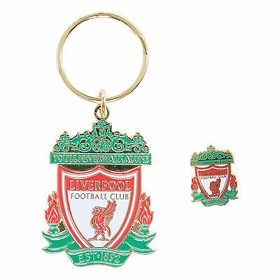 Liverpool FC LFC Colour Crest Badge & Keyring Set Official