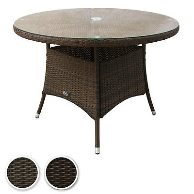 Charles Bentley Garden Indoor Outdoor Round Rattan Dining Table Brown Shades