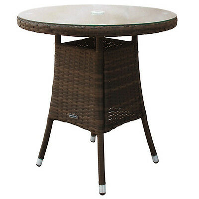 Bentley Garden Indoor Outdoor Small Round Rattan Dining Table - Brown / Black