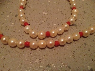 Vintage Cultured Pearl And Antique Coral Necklace.