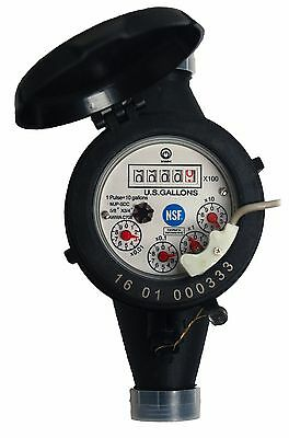 """MJ-SDC-E Multi-Jet Water Meter 5/8"""" x 3/4"""" Pulse/Reed Switch Output + Couplings"""