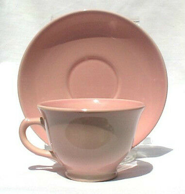 Two Luray Pastels Sharon Pink Cups & Saucers Taylor Smith & Taylor