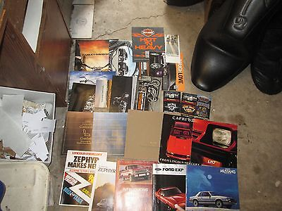 BROCHURE LOT 23 pieces Harley Davidson Ford Lincoln Mercury 1970's - 2008