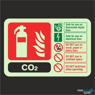 Photoluminescent CO2 Fire Extinguisher ID Sign