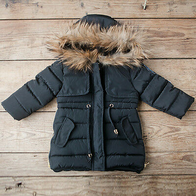 Girls Black Winter Coat With Fur Hood ages 2,3 & 4 Brand New**