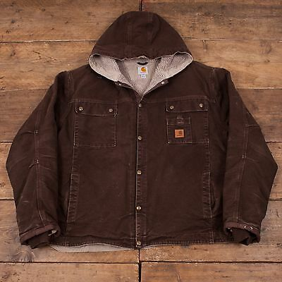 "Mens Vintage Carhartt Lined Workwear Brown Hooded Jacket XXL 52 - 54"" R4247"