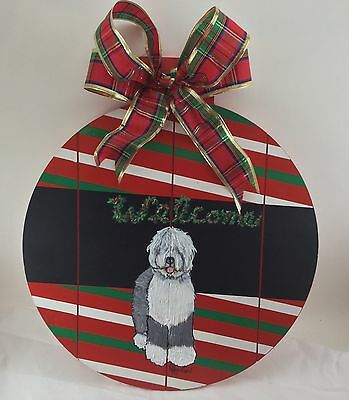 """HAND PAINTED Old English Sheepdog large """"ornament"""" holiday welcome sign"""