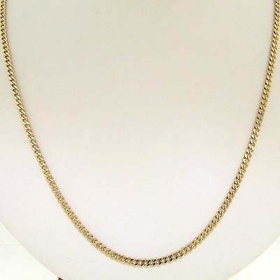 """Men's 14k Solid Yellow Gold Long 24"""" 3.0mm Curb Cuban Link Chain Necklace 14.0g"""