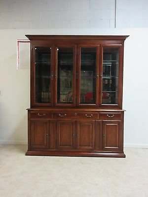 Cherry White Furniture Company Chippendale Breakfront China Cabinet Curio