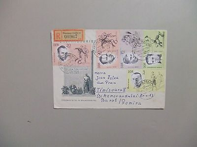Germany Sport personalities registered cover 1963 w/semipostal stamps+labels