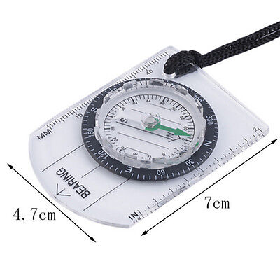 Outdoor Professional Hiking Camping Baseplate Compass Map MM INCH Measure Ruler