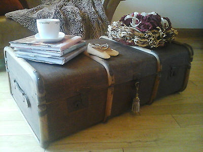 Antique STEAMER TRUNK ~XL Railway Suitcase~Blanket Storage~Fab Coffee Table 1930