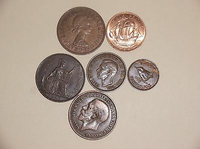 England 6 all different coins, Penny, 1/2 penny, farthing # 11