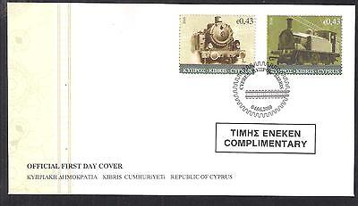Cyprus 2010 Old Steam Trains Railway Set Official Fdc Handstamped Complimentary