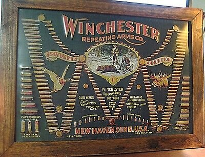 """Large 21""""vintage Style Official Winchester Repeating Arms Wood & Metal Sign Guns"""