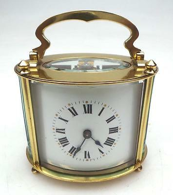 Very Rare 19THC Antique French 8 Day Ormolu Bronze & Glass Oval Carriage Clock