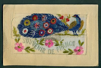 WW1 Silk Postcards with Pockets from France - Peacock & Butterfly