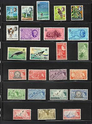 Collection of mint stamps Seychelles & Bermuda.