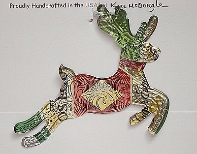 Embossed Reindeer Handmade Christmas Ornament Recycled DE Mexican Beer Can Art
