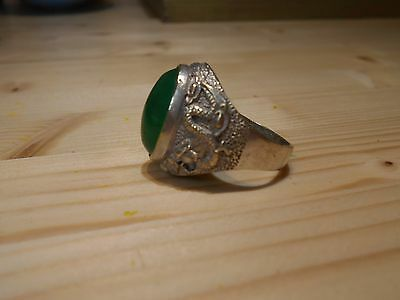 Antique Men's Chinese Chrysoprase or Jade & Silver (?) Ring - Dragons - Large