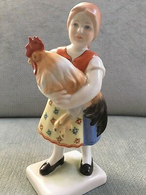 Vintage Herend Hungary Girl with Rooster Figurine