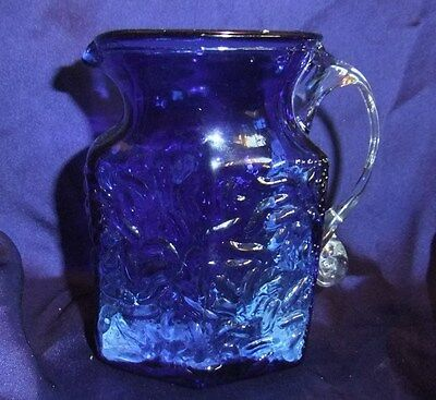 Lovely Little Vintage Blue Glass Jug with Clear Glass Handles