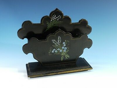 Decorative Victorian Antique Handpainted Papier Mache Letter Rack.