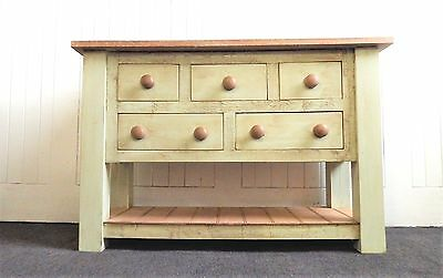 Antique reclaimed wood farmhouse rustic pine console table with drawers