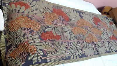 Antique Vintage Art Nouveau Tapestry Floral Needlepoint 68 X 24 Inches
