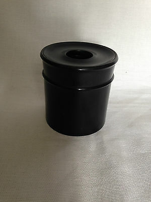 Antique EBONY POT & SCREW LID for PINS/ make up brushes/ WOOL HAIR