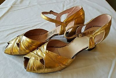 Vintage Ladies 1930s Gold Dancing Open Toe Shoes Cuban Heels Qual-i-Craft Size 9