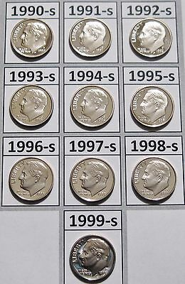 Set of 10 Clad Cameo Proof Roosevelt Dimes 1990 to 1999 Nice Problem Free Coins