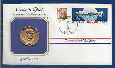 Space ** Gerald R.  Ford * Usa President * Numisbrief Mit Vergolde Medaille