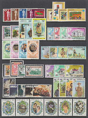 Jamaica Sc 457//537 MLH. 1979-1982 issues, 11 complete sets, F-VF