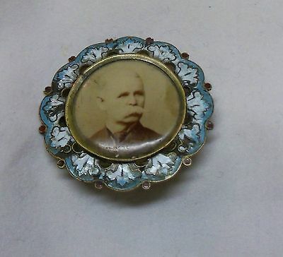 Antique Gold Color Metal  and Enamel  Victorian Framed Photograph Pin/ Brooch