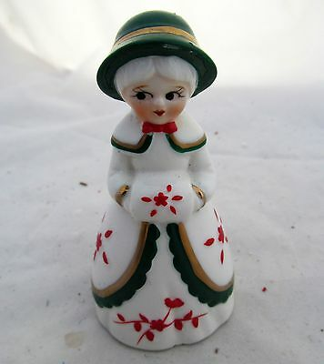 Vtg Antique Victorian Lady Muff Christmas Bell Holiday Figure Decor Decoration