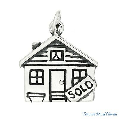House For Sale Realtor Sold Sign .925 Sterling Silver Charm Pendant MADE IN USA