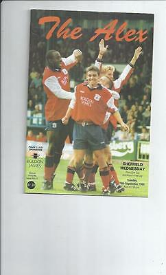 Crewe Alexander v Sheffield Wednesday Coca Cola Cup Football Programme 1995/96