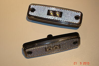 """new""  2 X  Led 12/24V Clear Front  Marker Lamps/reflectors"