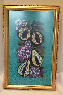 VINTAGE MODERNIST ABSTRACT EMBROIDERY TAPESTRY PICTURE FRAMED ART RETRO 60 70s
